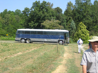 a biodiesel bus parked in the field
