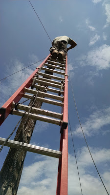 man on tall ladder reconnecting the main wire