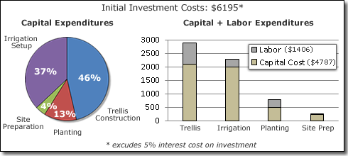 Percent and proportion of initial investment costs related to capital expenditures (left) and capital expenditures plus labor (right)