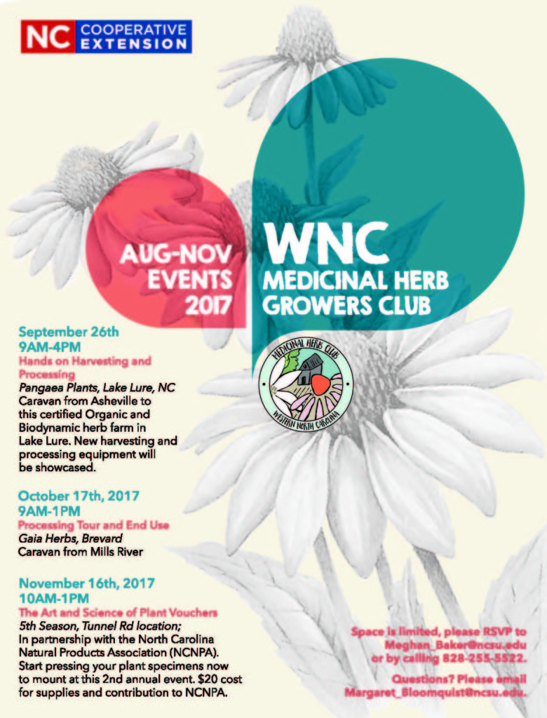 WNC MEdicinal Herb Growers Club events flyer 2017