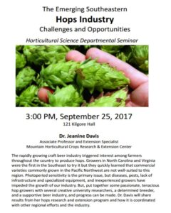 Cover photo for Seminar on SE Hops Production-on Campus
