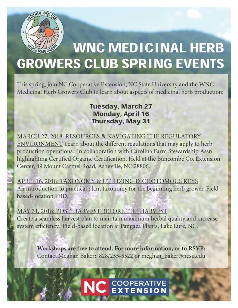 WNC Medicinal Herb Growers Club Spring Events flyer