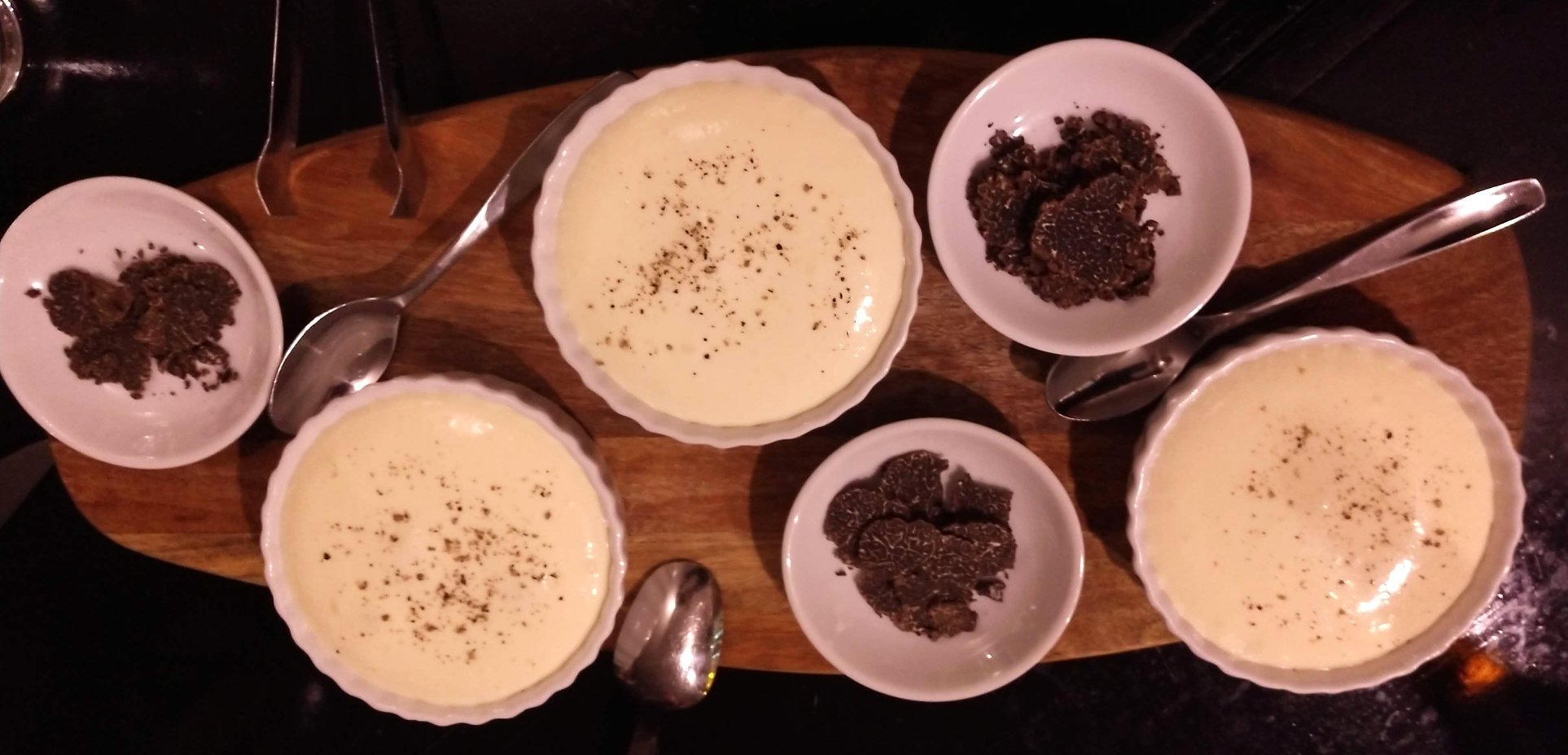 truffle dishes on white plates